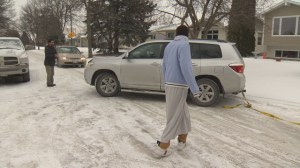 Temperature drop ices city streets and sidewalks