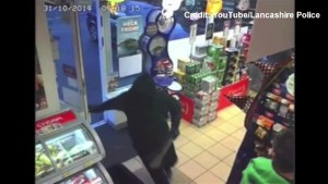 Security camera captures terrifying armed robbery in England