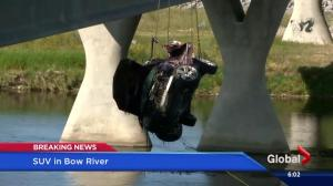 Car drives off Deerfoot Trail into Bow River