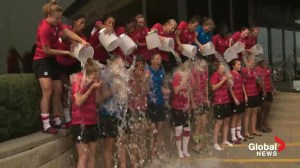 Canada's U-20 Women's soccer team accepts the ALS Ice Bucket Challenge