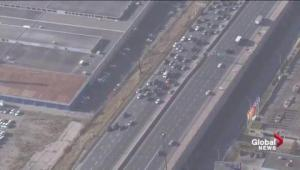 Aerial footage shows taxi protest impede Gardiner traffic