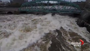 High waters churn through Ottawa's Chaudière Falls