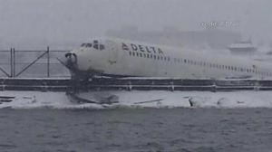 Plane skids off runway at LaGuardia airport in NYC