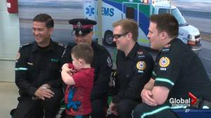 Boy reunites with his paramedic heroes