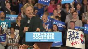 Clinton laughs, says Trump proved during debates she has 'stamina to be president'