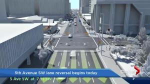 Lane reversal begins in downtown Calgary