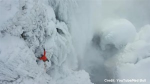 Canadian ice climber ascends Niagara Falls