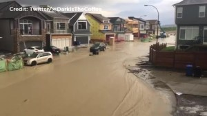 Calgary flooded after torrential storm caught on camera