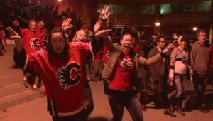 RAW: Flames fans celebrate the team's playoff berth