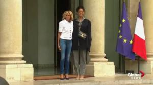 Rihanna meets with French president, greeted by Brigitte Macron