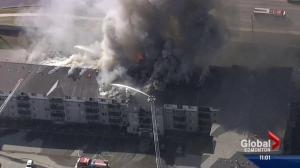 Massive fire rips through Clareview condo building