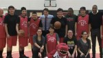 Justin Trudeau helps run basketball drills for La Loche youth