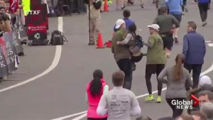 Half-marathon heroes help woman cross finish line