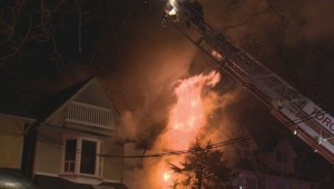 Crews battle three-alarm blaze in Toronto's east-end
