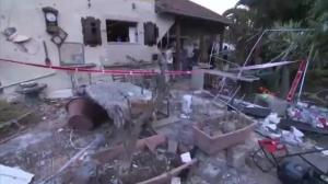 Aftermath of rocket attack that caused flight cancellations to Tel Aviv