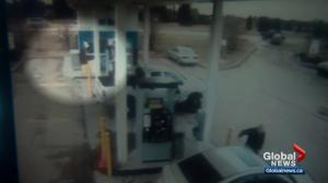 Alberta police search for suspect in disturbing gas and dash