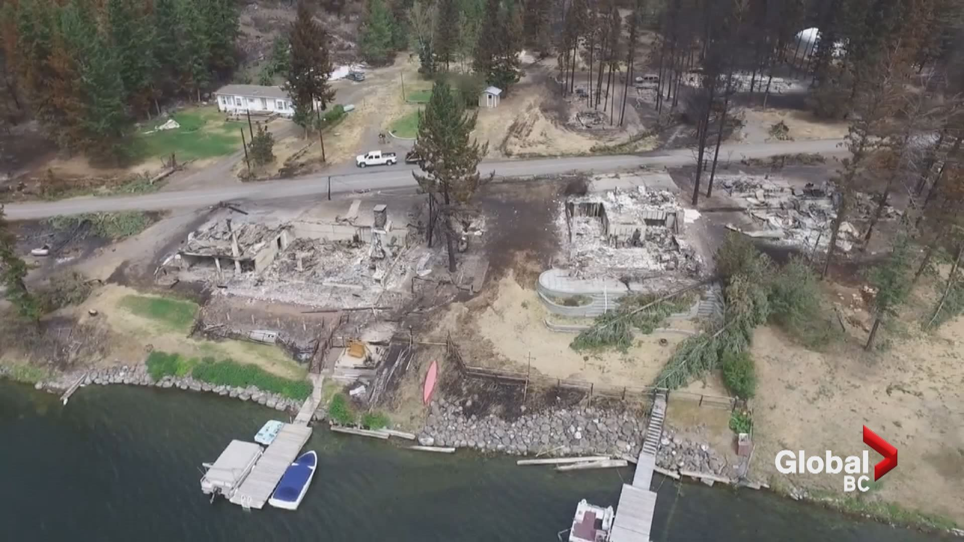 Drone footage shows wildfire devastation around Loon Lake