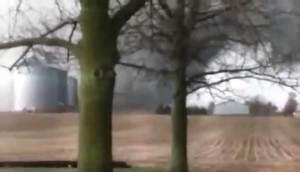 Raw Video: Tornado smashes through Illinois farms