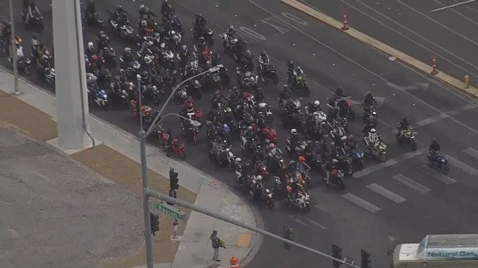motorcyclists take over the streets in Las Vegas