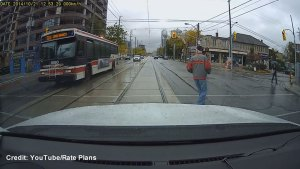 Dashcam captures TTC bus running red light
