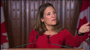 Freeland won't say if climate change is 'deal breaker' in NAFTA talks