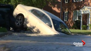 Sinkhole swallows car in Maryland town