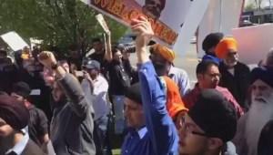 Raw: Protestors rally against  India's prime minister Narendra Modi