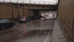 Jubilee Underpass in Winnipeg quickly floods during rainfall Friday afternoon