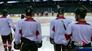 Flames prep for game 3 at home