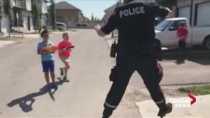 Kids attack Edmonton police officer with Nerf guns, hilarity ensues