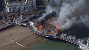 Huge blaze engulfs historic Eastbourne Pier in UK