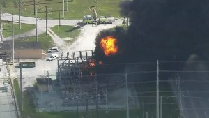 Huge fire erupts at power plant in Florida