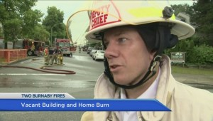 Two huge fires break out overnight in Burnaby