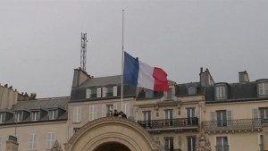 French flags at half mast at Elysee Palace