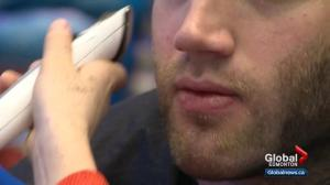 Edmonton Oilers defenceman Eric Gryba shaves his beard for a good cause