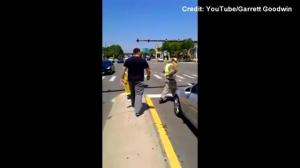 Raw video: Ex-U.S. Army medic confronts panhandler dressed in soldier's uniform