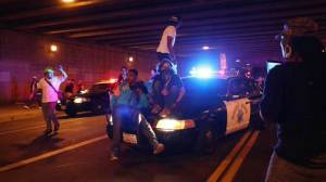 Officer injured during Michael Brown protest in Los Angeles