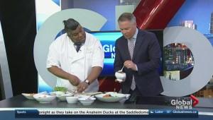 Chef Eraj Jayawickreme prepares a salmon poke bowl