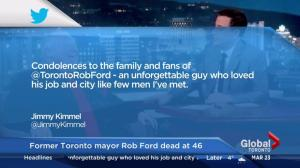 Jimmy Kimmel post Rob Ford condolences on Twitter