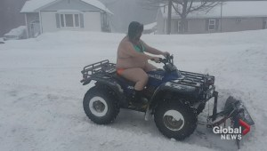 New Brunswick man plows snow in unconventional outfit