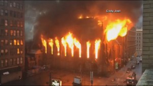 Massive fire rages through historic NYC church