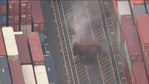 Raw: Smouldering container at Port of Vancouver