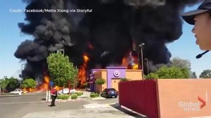 Overturned tanker truck unleashes 'ocean of fire' outside California restaurant
