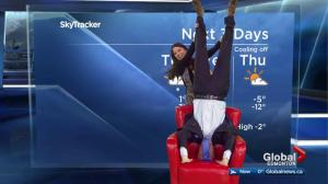 Handstand time! Mike Sobel performs gymnastics exercise of the day
