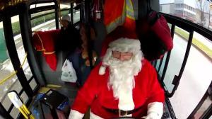 Raw: Bus driver in a Santa suit