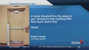 Toronto woman trapped inside Hudson's Bay store