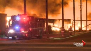 Four firefighters injured in massive Mississauga fire