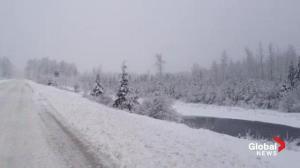 Treacherous winter highway driving near Fernie