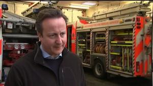 David Cameron visits flood-hit Blackpool, England