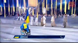 Ukrainian flag bearer comes in alone to Paralympics opening ceremony